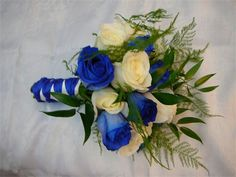 blue and white bouquet: blue and white roses