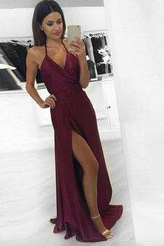Sexy Evening Dress, Prom Dress, Long Prom Dress, Burgundy Evening Dress, Evening Dress A-Line Prom Dresses Long Evening Dress Long, Burgundy Evening Dress, Formal Evening Dresses, Evening Gowns, Dress Formal, Evening Party, Burgundy Dress, Formal Wear, Formal Jumpsuit