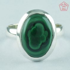 MALACHITE RING, 925 STERLING SILVER, BEAUTIFUL DESIGN RING R4993, SZ. 7.5 US #SilvexImagesIndiaPvtLtd #Statement #AllOccasion