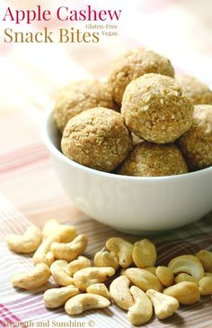 A sweet little no-bake snack bite that's great for on the go! These Apple Cashew Snack Bites are gluten-free, vegan, and freezer-friendly!