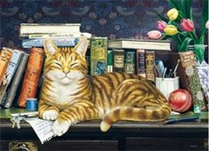 Marmaduke - Jigsaw Puzzle by Cobble Hill Visual Cue, Puzzle Books, Puzzle Art, Sleepy Cat, Ginger Cats, Cat Drawing, Cat Art, 1000 Piece Jigsaw Puzzles, Vintage