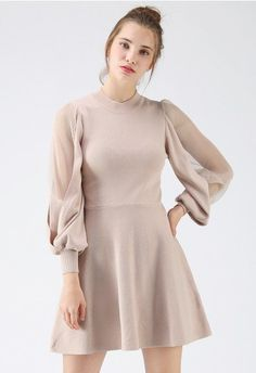 One Sweet Day Knit Dress in Nude Pink