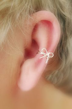NEW/ Dainty Bow Ear Cuff/ Cartilage Cuff/ Now by TheLazyLeopard, $12.00