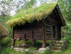 Tiny cabin with a sod roof.ahhh the life of a hermit.the things I could write, paint, sing, do. Beautiful Norway, Living Roofs, Cabins And Cottages, Log Cabins, Cabins In The Woods, Little Houses, Tiny Houses, Porches, Outdoor Spaces
