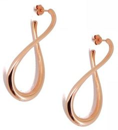 Long twist earrings in the increasingly popular rose gold plated silver.  The earrings are made form one piece of material that is twisted round to create the sleek line of the shape.