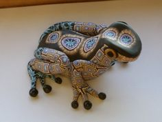 polymer clay frog sculpture