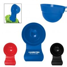 """Clip 'N Scoop  Promotional Product2 in 1 Polypropylene plastic food scoop and bag clip. Measures up to 2 cups (500 mL). One side of scoop has 1 cup and 2 cup measurements in plastic mold, opposite side has 500 mL and 250 mL in plastic mold. Great for measuring portions of anything from pet food to cereal to coffee. Hand wash. 7 5/8"""" L x 4 3/4"""" W x 3"""" H"""