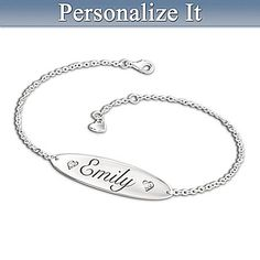 Sterling Silver Plated Personalized Diamond Bracelet for Daughter with Engraving