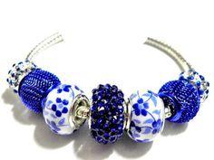 european bead Bracelet Blue charms PB823