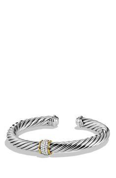 Women's David Yurman 'Cable Classics' Bracelet with Diamonds and Gold - Diamond Diamond Bracelets, Silver Bracelets, Silver Earrings, Silver Jewelry, Silver Ring, Djula Jewelry, Where To Buy Silver, Engraved Bracelet, Diamonds And Gold