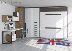 #Habitación para jóvenes con #litera horizontal #abatible de alta calidad, amplio #armario rinconero y #mesa con soportes metálicos.