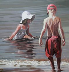 La courageuse - Nicolas Odinet #beach #plage #borddemer #seaside #eau #mer #enfants #children #kids #Odinet #peinture #oilpainting #art #Hopper #Light #afternoon  #fineart #artcontemporain #art #marciano #gallery #galerie #Paris #rivoli