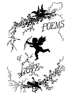 Vintage Clip Art - Poems of Love Silhouette - Cupid - The Graphics Fairy