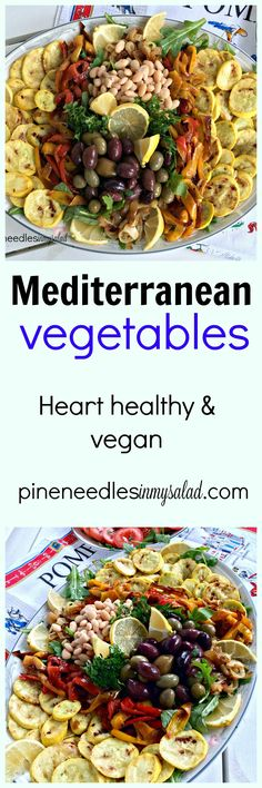 Healthy, tender and fresh Mediterranean vegetables such as yellow zucchini squash, onions, red and yellow peppers, olives, and cannellini beans give variety and texture to this tasty vegetable platter.