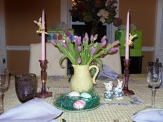 My Easter Centerpiece  with vintage bunny candlehuggers