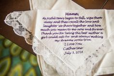 Embroidered Messages on Handkerchiefs Gift for Parents on Wedding Day