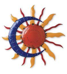 Recycled Metal Sun And Moon Wall Art Moon Sun Tattoo, Sun Tattoos, Sun Moon Stars, Sun And Stars, Recycled Metal Art, Love Moon, Outdoor Wall Art, Diy Resin Art, Sun Art