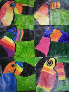 After studying the rainforest in Art class, fifth graders learned a bit about toucans and how to draw one. Then they colored their maste. Kindergarten Art Activities, Kindergarten Lesson Plans, Primary School Art, Elementary Art, Jungle Art Projects, Third Grade Art, Fourth Grade, Second Grade, Rainforest Theme