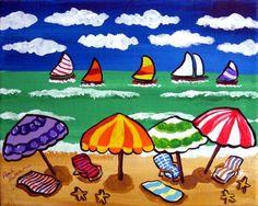 Esta es una escena muy colorida y caprichoso de la playa a lo largo de la orilla. Sombrillas multicolores junto con algunas sillas línea de la