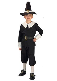 Boys Pilgrim costume for thanksgiving dramatic play area. I could definitely make this myself
