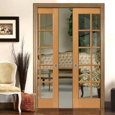 Double Pocket Simply Oak Gisburn sliding door system in three size widths with Clear Glass. #slidingdoors #pocketdoors #pocketdoorpair