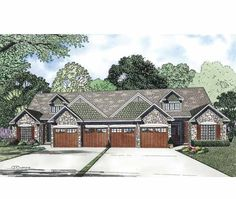 Eplans Craftsman House Plan - Four Bedroom Craftsman Duplex - 3750 Square Feet and 8 Bedrooms(s) from Eplans - House Plan Code HWEPL69535