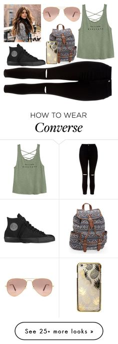 """100 day challenge- day 80"" by baileejade on Polyvore featuring Aéropostale, New Look, Skinnydip, Converse and Ray-Ban"