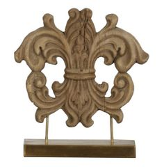 French Country Wood Carved Crest Sculpture on Stand