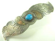 Haarspange 925 Sterling Silber Haarklammer Türkis Edelstein Vintage 70er -73 N4 | eBay