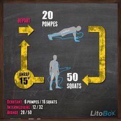 Séance de CrossFit de 15 minutes sans matériel. 15 minutes ? c'est 1% de la journée : pas d'excuse ;) Bon courage à tous et bonne journée. #litobox #crossfit