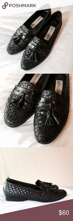 Vintage Valerie Stevens Black Basket Tassel Loafer Beautiful black loafers from Valerie Stevens. These are vintage from the 1980s. All leather upper in a cool basket weave construction with adorable tassels on the front. These flats are great for the office or casual wear. They really make our outfit pop! Very high-quality and made in Brazil. It looks like the heels have been replaced and they have Vibram pads. No size anywhere, but I believe these are a 6 based on fit and measurements…
