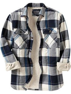 Men's Flannel Sherpa-Lined Shirt Jackets | Old Navy $39.94 Blue or ...