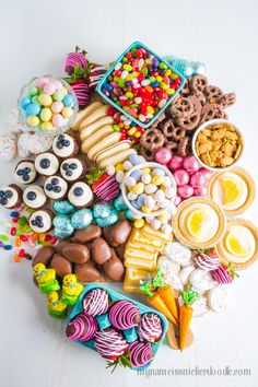 Easter Candy Snack Board is perfect for the holiday. Not just one dessert, but a little bit of everything sweet and delicious!