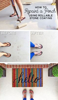 See how easy it is to repaint a porch with rollable stone coating! It's a simple DIY home improvement project that anyone can do! Video tutorial too! Fireplace Kits, Concrete Porch, Concrete Coatings, Thrifty Decor Chick, Diy Hanging, Cool Diy Projects, Outdoor Projects, Project Ideas, Home Improvement Projects