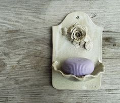 Dish soap in cream with rose wall mounted -  Stoneware (grès) on Etsy, $42.86