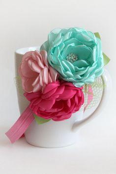 Aqua fuschia and pink blooms headband by JensBowdaciousBows, $15.95
