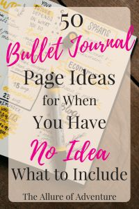 Needing a little inspiration in your bullet journal? Here are 50 bullet journal page ideas (with examples!) that are sure to give you plenty of ideas! List Of Bullet Journal Pages, Bullet Journal Layout, Bullet Journal Inspiration, Bujo, Bullet Journel, Donia, Journal Prompts, Journal Topics, Smash Book