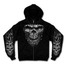 Zip-Hoodie Kapuzenjacke    Gr. XL  Schädel Flammen Ghostrider
