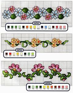 Grande raccolta di Schemi e grafici per Punto croce free: schemi bordi con fiori e frutta a punto croce