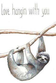 Sloth Original Watercolor Animal Print