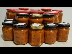 Tocana de legume cu orez, pentru iarna - YouTube Vegetable Stew, Salsa, Mason Jars, Vegetables, Recipes, Rice, Preserves, Marmalade, Fine Dining