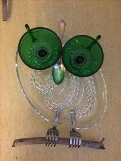 suncatcher by Tambrey the Repurposer 164 Owl garden art, Garden owl, Glass garden art, Glassware gar Glass Garden Flowers, Glass Plate Flowers, Glass Garden Art, Sea Glass Art, Stained Glass Art, Garden Owl, Garden Whimsy, Garden Crafts, Garden Ideas