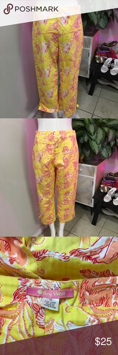 KEY WEST SZ L OR 10 PATTERN PANTS MONEY YELLOW Cute pants by key west Key West Pants