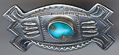 HANDSOME SMALL VINTAGE NAVAJO INDIAN STAMPED SILVER TURQUOISE PIN