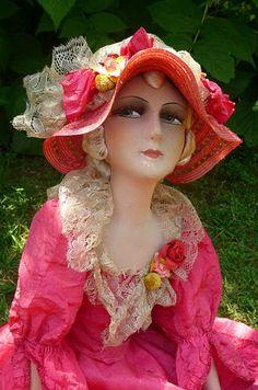 Antique French Boudoir Doll Paris 1920 Silk Fashion Doll Hat | eBay