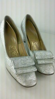 720217066ca 30 OFF Vintage 1960s Shoes Metallic Silver Bow by AutoluxeVintage