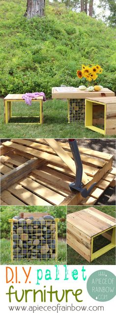 make pallet garden furniture: benches and gabion table | A Piece of Rainbow