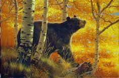 Fall Glow - black bear painting by Al Agnew Bear Paintings, Wildlife Paintings, Wildlife Art, Bear Pictures, Pictures To Paint, Deer Skull Art, Bear Illustration, Bear Decor, Pet Rocks