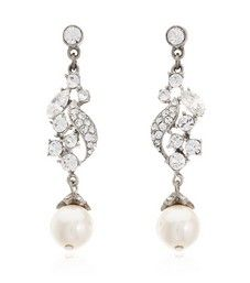 Pearl Drop and Crystal Earrings by Ben Amun Bridal | Thomas Laine
