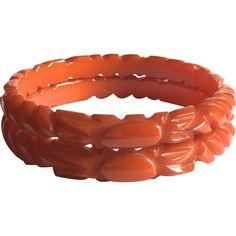 Bakelite Bangle Bracelets Pair of Two